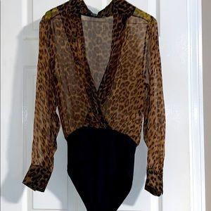 Sassy sheer cheetah long sleeve bodysuit